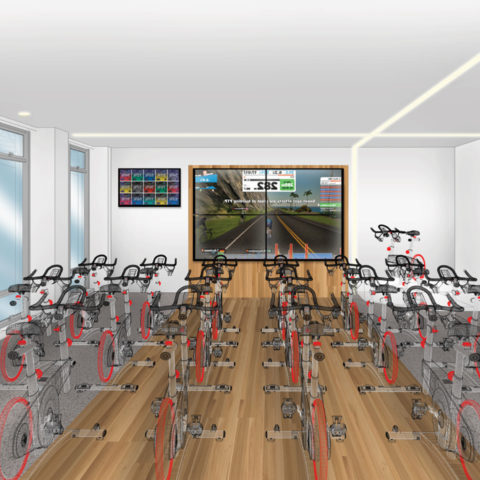 Preliminary rendering of the Fighting Knights cycling studio in the Snyder Center for Health 和 Wellness