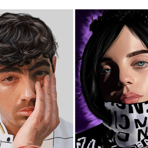 Jackie Gray's 走ld ADDY award-winning digital drawings of Billie Eilish and Joe Jonas