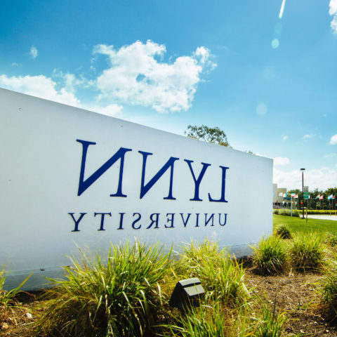 Lynn's sign at the university's entrance.